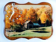 Cabin Scene Wooden Wall Clock (Epoxy Finish)
