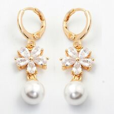 Dangle Earring 24K Gold Filled Clear C.Z Women's Drop Earrings Gift Box Pack