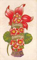 BIRTHDAY GREETINGS 1910 Embossed Postcard Flower Arrangement Amanda Ohio Cancel