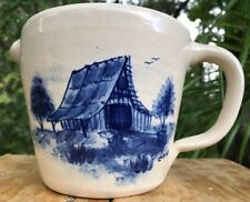 MARSHALL TEXAS 1993 P.R. STORIE POTTERY PITCHER BLUE BARN COVERED BRIDGE SIGNED
