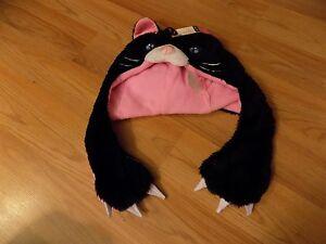 Child One Size Black Pink Kitty Cat Halloween Costume Headdress Winter Hat New