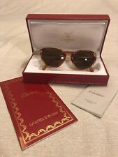 Vintage Cartier Sunglasses Soft Cat Eye Brown Tortoise Frames Gold Accent 130mm
