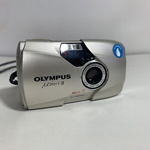 Olympus MJU II Multi AF All Weather 35mm Compact Film Camera and case