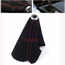 Universal Suede Leather Shifter Shift Gear Knob Boot Cover TRD Sports Red Stitch