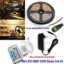 5M 3528 Warm White Dimmer LED Strip Light 12V 300leds Tape+IR Controller+Power