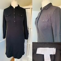 The White Company Black Shirt Dress Size 10 Jersey Collared Knee Length