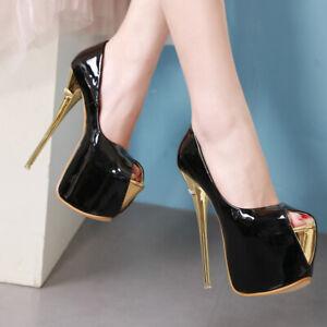 Womens Pumps Super High Heels Platform Peep Toe Club Sexy Sandals Shoe Party US9