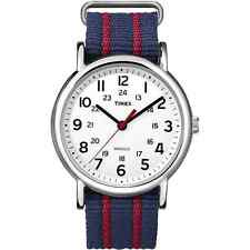 Timex T2N747 Men Weekender Watch Blue Red Nylon Strap Indiglo Quartz Buckle