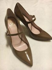 "Women's Vince Camuto Patent Leather with strap dark Beige 3"" Heels Size 7.5, euc"