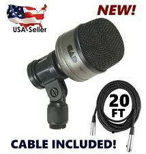 Bass Kick Drum Mic CAD KM212 with 20' Microphone Cable Wire+mounting clip KM-212