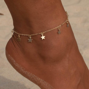 Simsly Beach Tassell Anklet Star Ankle Bracelet Foot Jewelry Adjustable for and