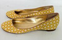 J. Crew Womens Yellow White Geometric Fabric Ballet Slip on Flats Shoes Size 5.5