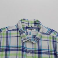 Express Mens Shirt Medium Long Sleeve Button Front Linen Blend Plaid Casual
