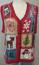 Ugly Christmas Red Sweater Vest L Reindeer Snowman Tree Patchwork Holly Stocking