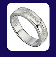 Wedding Ring Sterling Silver Wedding Band Channel Set Silver Ring