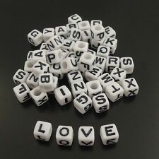 160pcs White Plastic 26 Letters Cube Dice Beads DIY Jewelry Findings 7*7mm 38277