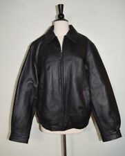 CROFT & BARROW LEATHER BOMBER COAT JACKET  QUILTED LINING BLACK MEN'S SIZE M