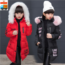 Girls Thick Coat Kids Hooded Padded Thick Parka Long Fur Warm Jacket Winter new