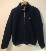 Vintage LL Bean Outdoors Fleece Polyester Mens Large Navy Blue Pullover 1/2 Zip
