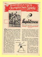 Orig.PRG / Rules   XI. Olympic Games BERLIN 1936 - SHOT PUT  !!  VERY RARE