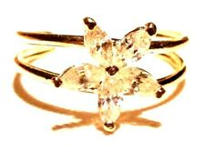 Flower Toe Ring-Free Shipping-Gft Box 14Kt Yellow Gold Adjustable Cubic Zirconia