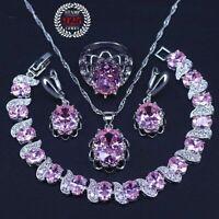 Braut Schmuck Set 925 Sterling Silber Anhänger Armband Ohrringe Ring Rosa Zirkon
