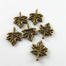 65pcs Mini Maple Leaves Look Alloy Antique Bronze Charms Pendants Jewelry Making