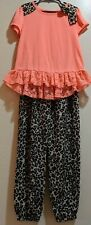 Faded Glory Girls Sz 7-8 Leopard Print Stretchy Top & Bottom Polyester Spandex