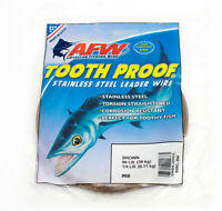 AFW Tooth Proof Stainless Steel Fishing Wire Leader 1/4lb #8 86 LBS