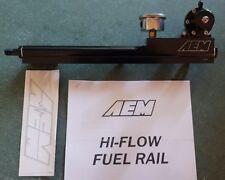 AEM fuel rail and Black adjustable fuel regulator with gage B-Series B16 B18