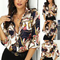 Women Chain Print Long Sleeve T-Shirt Tops Ladies Casual V-Neck Button Blouse