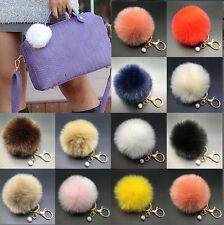 8CM Rabbit Fur Fluffy Pompom Ball Handbag Car Pendant Charm Key Chain Keyrings
