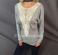 Boho Lace Ivory Detail Deep V-Neck Layer Juliet Sleeve Sheer Crochet Tunic Top