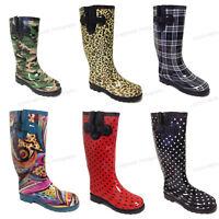 Women's Rain Boots Colors Festival Mid Calf Wellie Rubber Fur Snow Shoes, Sizes