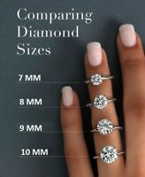 Certified 7-10 MM White Round Solitaire Moissanite Engagement Ring 14k W Gold