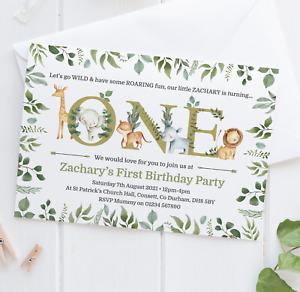 Personalised Jungle Birthday Party Invitations • Safari 1st Birthday Invites x10