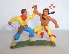 Figurine ancienne starlux série farwest : cow boy et indien aux prises ref 2838