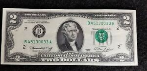 1976 $2 BANK OF NEW YORK ERROR NOTE GREAT SERIAL # 45130033 FRN VERY LOW $'s