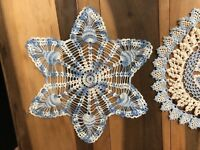 "Vintage Doily Lot 2 Handmade 12"" 13"" Crocheted Round Star Blue Doilies C1"