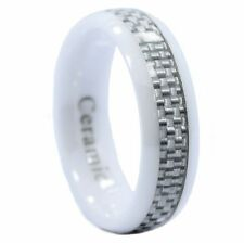 6MM Half Dome White Ceramic Wedding Ring Carbon Fiber Men Women Band Size 5