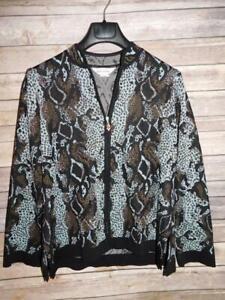 Exclusively Misook M Black Blue Brown Leopard Print Cardigan Sweater Zip Front M