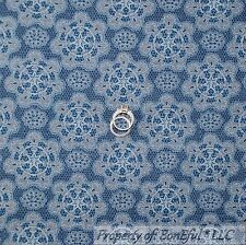 BonEful FABRIC FQ Cotton Quilt Blue Cowgirl Country Texas Star Lace Damask Toile