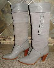 """Vintage Womens Dingo Sz 7N (6-6.5) Grey Leather Cowboy Fashion Boots 3.5"""" Heels"""
