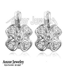 Russian Style Solid 14k White Gold Genuine 0.50 cwt Diamonds Earrings #E1267