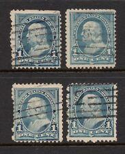 Scott # 247 x 4, used, 1¢ Franklin, 1894, Machine Cancels, Set 19
