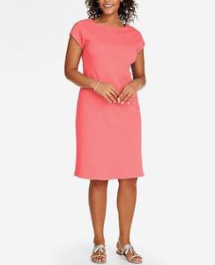 TALBOTS WOMEN'S PINK SHOULDER BUTTON INTERLOCK COTTON SHIFT DRESS PLUS Sz 0X