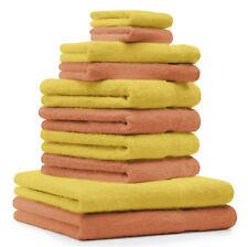 Lot de 10 serviettes Premium orange et jaune, 2 serviettes de bain, 4 serviettes