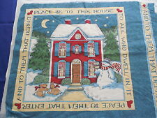 Vintage Christmas Snowman  Fabric Panel for Pillow or Wall Hanging Unfinished