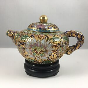 Chinese Vintage Gold Cloisonne Bronze Brass Copper Enamel Teapot with Wood Stand