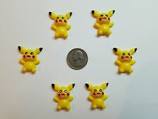 6 Pcs Lot Pikachu Flatback Resin Cabochon Hair Bow Center Supplies.